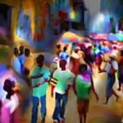 Marketplace At Night Cap Haitien Art Print by Bob Salo