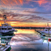 Marlin Quay Marina At Sunset Art Print