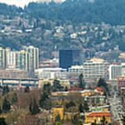 Marquam Bridge By Portland City Skyline Panorama Art Print