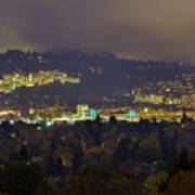 Marquam Hill And Portland Bridges At Night Art Print
