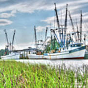 Marsh View Shrimp Boats Art Print