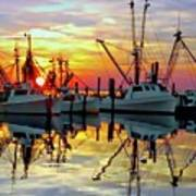 Marshallberg Harbor Sunset Art Print