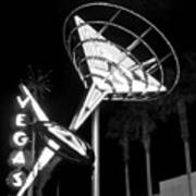 Martini Sign In Vegas B-w Art Print