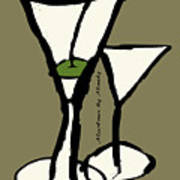 Martini With Green Background Art Print