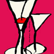 Martini With Pink Background Art Print