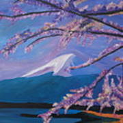 Marvellous Mount Fuji With Cherry Blossom In Japan Art Print