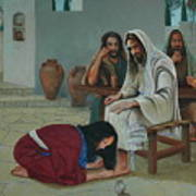 Mary Anoints The Feet Of Jesus Art Print
