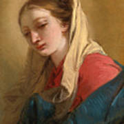 Mary Magdalene In Three-quarter View Veiled In A White Cloth Art Print
