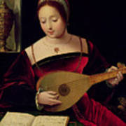 Mary Magdalene Playing The Lute Art Print