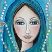 Mary With White Rosary Beads Art Print by Denise Daffara