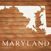 Maryland Rustic Map On Wood Art Print