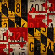 Maryland State Flag Recycled Vintage License Plate Art Art Print