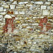 masonry Locked windows on the stone wall Art Print