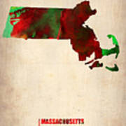 Massachusetts Watercolor Map Art Print by Naxart Studio