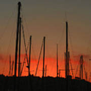 Masts At Sunset Art Print