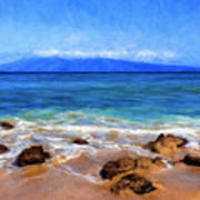 Maui Beach And View Of Lanai Art Print