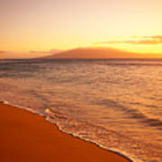 Maui, Hazy Orange Sunset Art Print