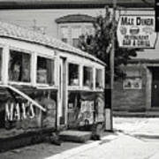 Max's Diner New Jersey Black And White Art Print