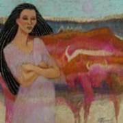Mayan Tending Her Cattle In Tulum Art Print