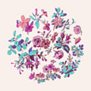 Meadow Flower And Leaf Wreath Isolated On Pink, Circle Doodle Fl Art Print