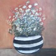 Meadow Flowers In Striped Vase  Art Print