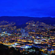 Medellin Colombia At Night Art Print