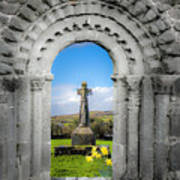 Medieval Arch And High Cross, County Clare, Ireland Art Print