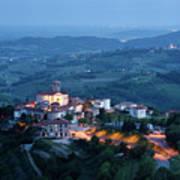 Medieval Hilltop Village Of Smartno Brda Slovenia At Dusk With S Art Print