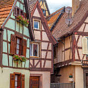Medieval Houses In Ribeauville  Art Print