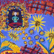 Meditating Master With Sunflowers Art Print