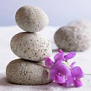 Meditation Stones Pink Flowers On White Sand Art Print