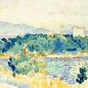 Mediterranean Landscape With A White House Art Print