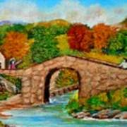 Meeting On The Old Bridge Art Print