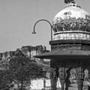 Mehrangarh Fort - Approach With Caution Bw Art Print