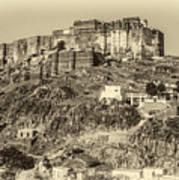 Mehrangarh Fort Sepia Art Print