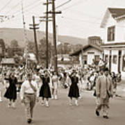 Memorial Day Parade Ashley Pa With Train Station And The Huber Colliery In Background 1955 Art Print