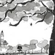 Memories Spirited Tree And Architecture Art Print