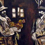 Men And Hen After A Photograph Shown On Pbs  Art Print