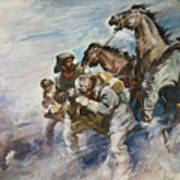 Men And Horses Battling A Storm Art Print by James Edwin McConnell