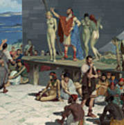 Men Bid On Women At A Slave Market Print by H.M. Herget