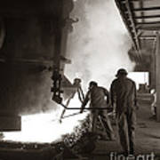 Men Working Blast Furnace At Steel Art Print