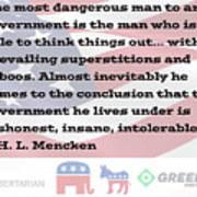 Mencken Quote 7 Art Print