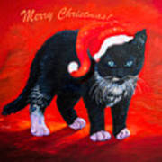 Meow Christmas Kitty Art Print