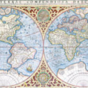 1587 World Map.Mercator 1587 World Map 2 Photograph By C H Apperson
