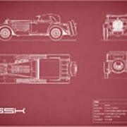 Mercedes Ssk Blueprint - Red Art Print