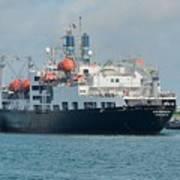 Merchant Marine Training Ship Kennedy And Tugboats Art Print