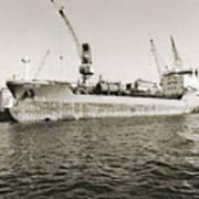 Merchant Ship Docked At Barcelona's Harbour Art Print