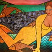 Mermaid And Friends Art Print