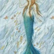 Mermaid And Her Golden Seahorse Art Print