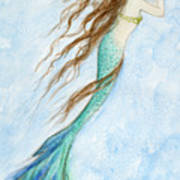Mermaid And Her Seahorse Art Print